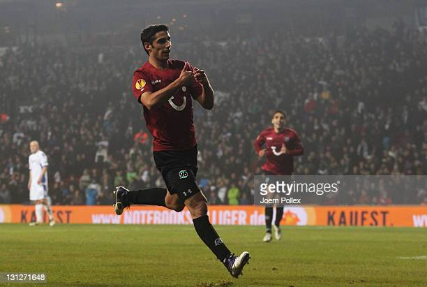 Lars Stindl of Hannover celebrates after scoring his team'S second goal during the UEFA Europa League Group B match between FC Kobenhavn and Hannover...