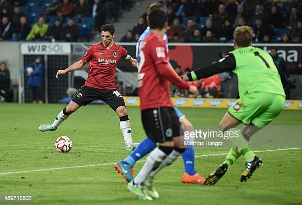 Lars Stindl of Hannover scores his team's third goal during the Bundesliga match between 1899 Hoffenheim and Hannover 96 at Wirsol RheinNeckarArena...
