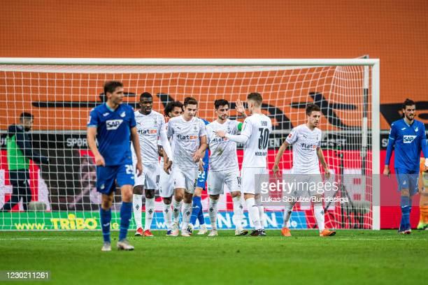 Lars Stindl of Mönchengladbach celebrates after scoring his teams first goal during the Bundesliga match between Borussia Mönchengladbach and TSG...