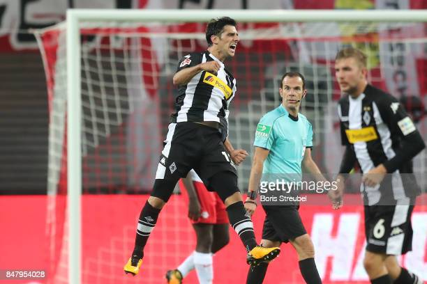Lars Stindl of Moenchengladbach celebrates after he scored his teams second goal to make it 22 during the Bundesliga match between RB Leipzig and...