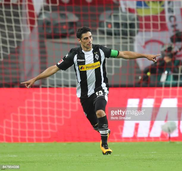 Lars Stindl of Moenchengladbach celebrates after he scored his teams second goal to make it 2:2 during the Bundesliga match between RB Leipzig and...
