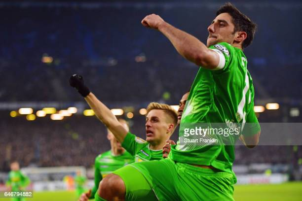 Lars Stindl of Moenchengladbach celebrates his team's first goal during the DFB Cup quarter final between Hamburger SV and Borussia Moenchengladbach...
