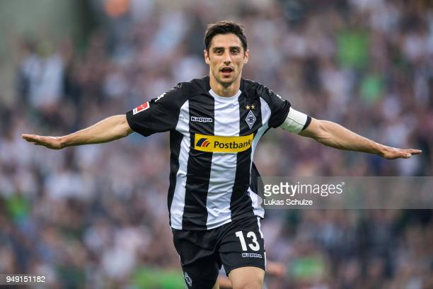 Lars Stindl of Moenchengladbach celebrates his teams first goal during the Bundesliga match between Borussia Moenchengladbach and VfL Wolfsburg at...