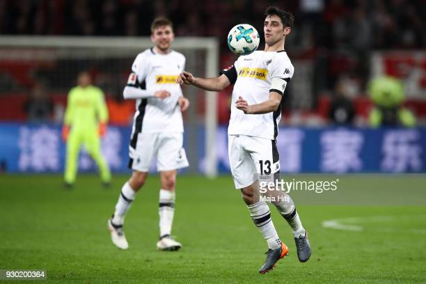 Lars Stindl of Moenchengladbach controls the ball during the Bundesliga match between Bayer 04 Leverkusen and Borussia Moenchengladbach at BayArena...