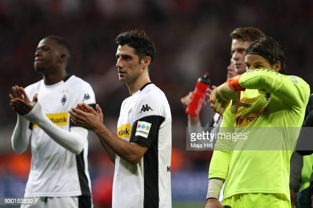Lars Stindl of Moenchengladbach looks dejected after the Bundesliga match between Bayer 04 Leverkusen and Borussia Moenchengladbach at BayArena on...