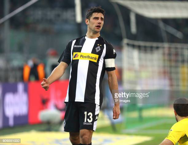 Lars Stindl of Moenchengladbach looks dejected during the Bundesliga match between Borussia Moenchengladbach and Borussia Dortmund at BorussiaPark on...