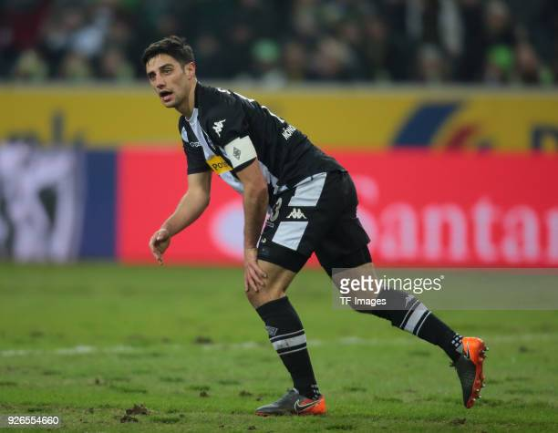 Lars Stindl of Moenchengladbach looks on during the Bundesliga match between Borussia Moenchengladbach and Borussia Dortmund at BorussiaPark on...