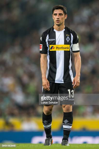 Lars Stindl of Moenchengladbach looks on during the Bundesliga match between Borussia Moenchengladbach and VfL Wolfsburg at BorussiaPark on April 20...