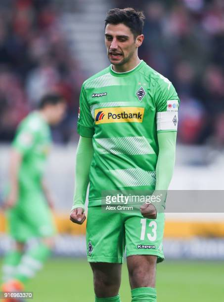 Lars Stindl of Moenchengladbach reacts during the Bundesliga match between VfB Stuttgart and Borussia Moenchengladbach at MercedesBenz Arena on...