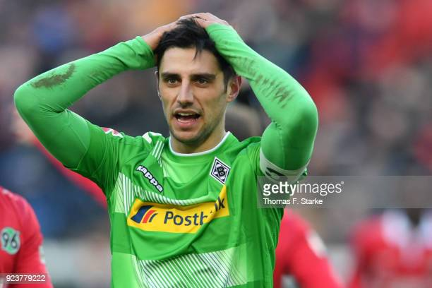 Lars Stindl of Moenchengladbach reacts during the Bundesliga match between Hannover 96 and Borussia Moenchengladbach at HDIArena on February 24 2018...