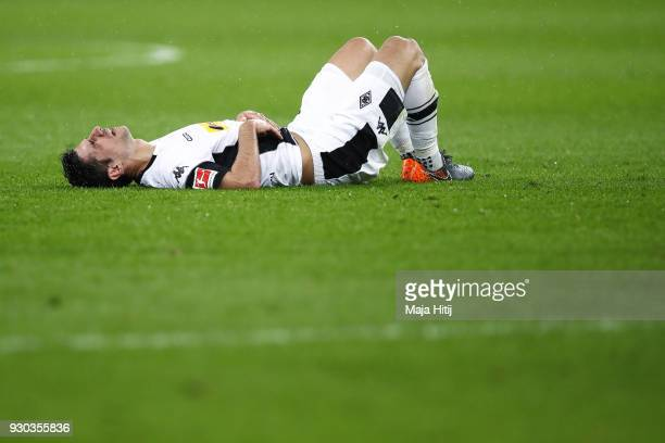 Lars Stindl of Moenchengladbach reacts during the Bundesliga match between Bayer 04 Leverkusen and Borussia Moenchengladbach at BayArena on March 10...
