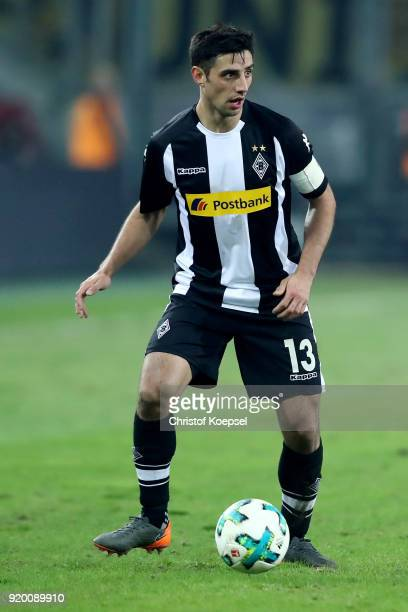 Lars Stindl of Moenchengladbach runs with the ball during the Bundesliga match between Borussia Moenchengladbach and Borussia Dortmund at...