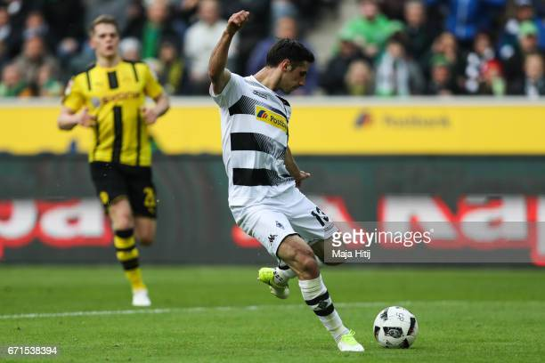 Lars Stindl of Moenchengladbach scores his team's first goal to make it 11 during the Bundesliga match between Borussia Moenchengladbach and Borussia...