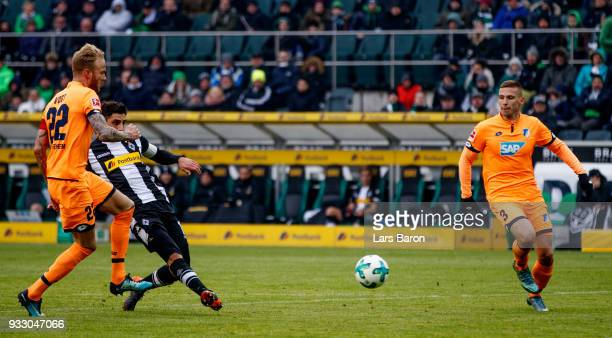 Lars Stindl of Moenchengladbach scores his teams second goal during the Bundesliga match between Borussia Moenchengladbach and TSG 1899 Hoffenheim at...