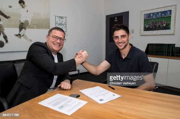 Lars Stindl signs a new contract for Borussia Moenchengladbach at BorussiaPark on May 17 2017 in Moenchengladbach Germany