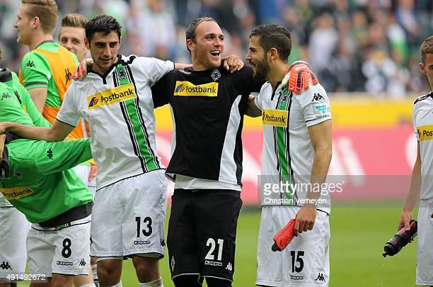 Lars Stindl Tobias Sippel and Alvaro Dominguez of Borussia Moenchengladbach celebrate after the Bundesliga match between Borussia Moenchengladbach...