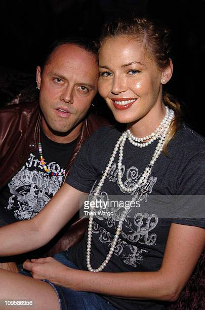 Lars Ulrich and Connie Nielsen during Launch of Chris Aire Jewelry Collection Front Row at Gotham Hall in New York City New York United States