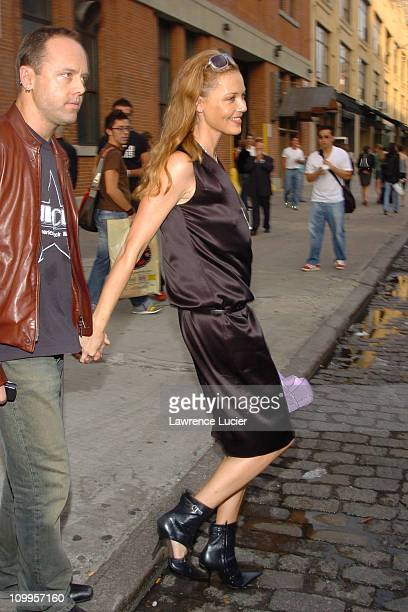 Lars Ulrich and Connie Nielsen during Olympus Fashion Week 2004 - Calvin Klein - Arrivals at Milk Studios in New York City, New York, United States.
