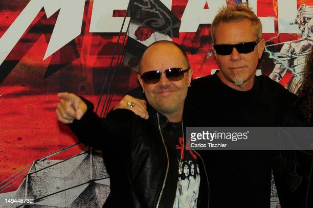 """Lars Ulrich and James Hetfield of Metallica pose for the photo, in the press conference """"Metallica the full arsenal"""" during the world tour to mark..."""