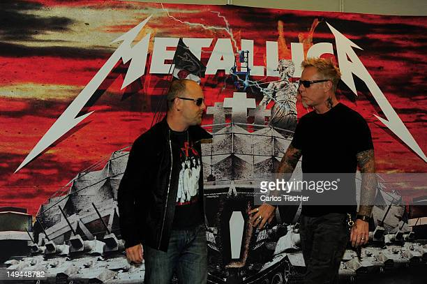 Lars Ulrich and James Hetfield of Metallica pose for the photo in the press conference Metallica the full arsenal during the world tour to mark the...