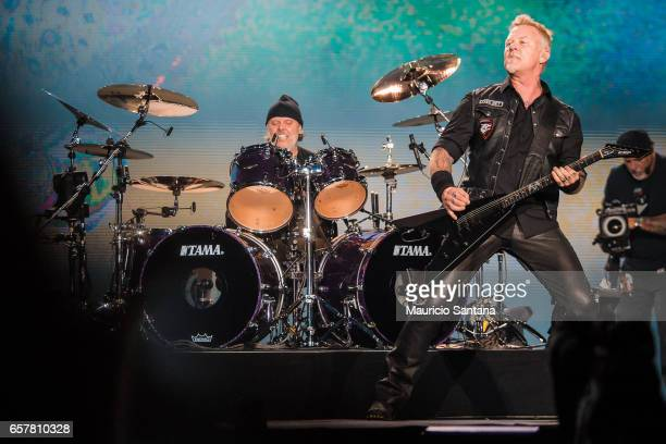 Lars Ulrich and James Hetfield of the band Metallica performs live on stage at Autodromo de Interlagos on March 25 2017 in Sao Paulo Brazil