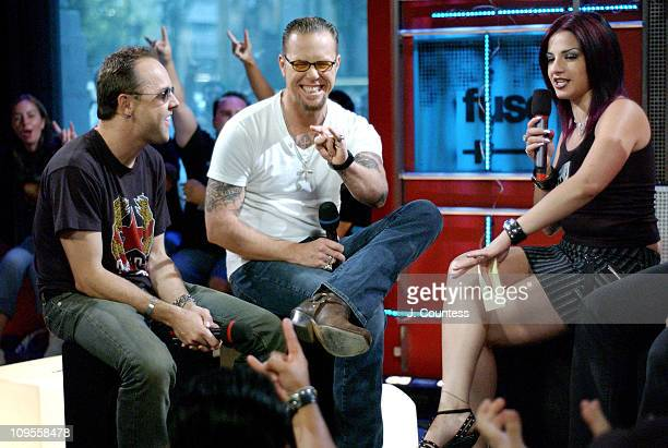 Lars Ulrich and James Hetfield with FUSE VJ Julia during Metallica's James Hetfield and Lars Ulrich appear on Fuse Network's New Live Show 'Daily...