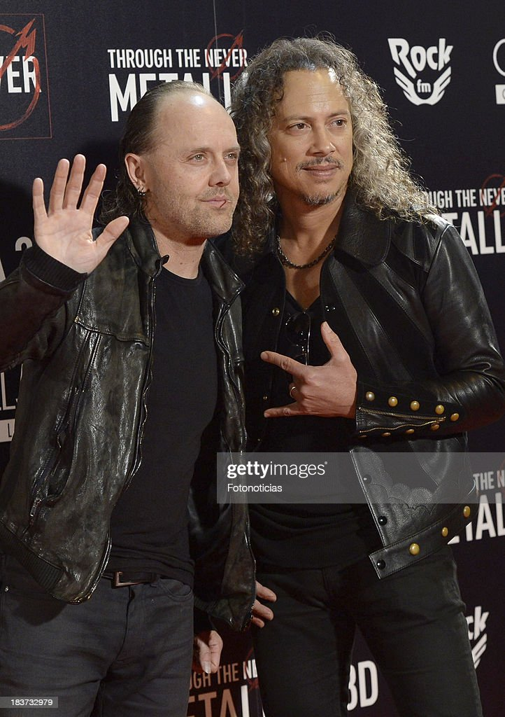 Lars Ulrich and Kirk Hammett of Metallica attend the premiere of 'Metallica: Through The Never' at Callao cinema on October 9, 2013 in Madrid, Spain.