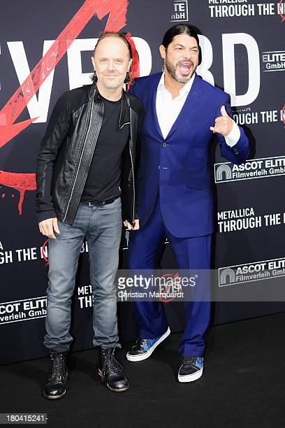 Lars Ulrich and Robert Trujillo attend the German premiere of 'Metallica Through The Never' on September 12 2013 in Berlin Germany
