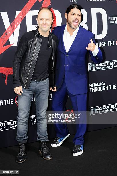 Lars Ulrich and Robert Trujillo of Metallica attend the German premiere of 'Metallica Through The Never' on September 12 2013 in Berlin Germany