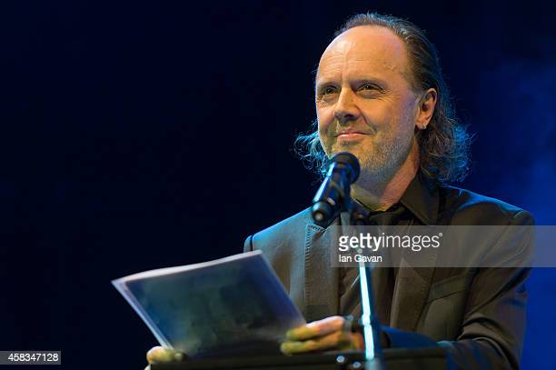 Lars Ulrich announces Michael Eavis as the Winner of the Music Industry Trust Award at the Grosvenor House Hotel on November 3 2014 in London England...