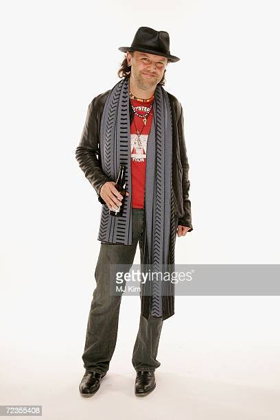 Lars Ulrich drummer and cofounder of Metallica poses for a portrait in the backstage studio during the 13th annual MTV Europe Music Awards 2006 at...