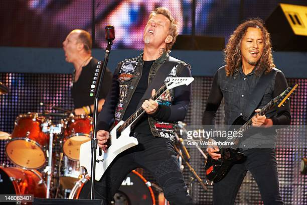 Lars Ulrich James Hetfield and Kirk Hammett of Metallica performs on stage during Download Festival at Donington Park on June 9 2012 in Castle...