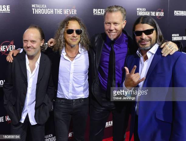 Lars Ulrich Kirk Hammett James Hetfield and Robert Trujillo of Metallica attend the San Francisco Premiere of Metallica Throught The Never at AMC...