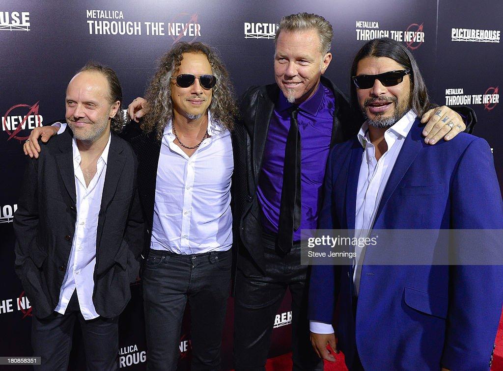 Lars Ulrich, Kirk Hammett, James Hetfield and Robert Trujillo (L-R) of Metallica attend the San Francisco Premiere of 'Metallica: Throught The Never' at AMC Metreon 16 on September 16, 2013 in San Francisco, California.