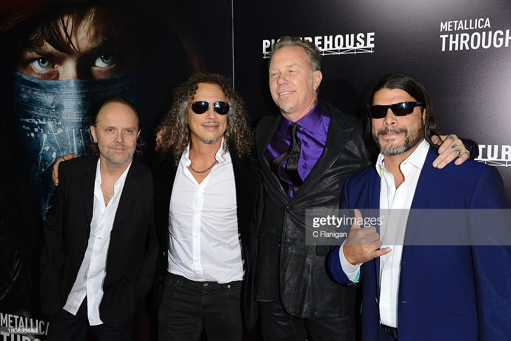 Lars Ulrich, Kirk Hammett, James Hetfield, and Robert Trujillo of Metallica attend the U.S. Premiere of Metallica Through The Never at the AMC Metreon on September 16, 2013 in San Francisco, California.
