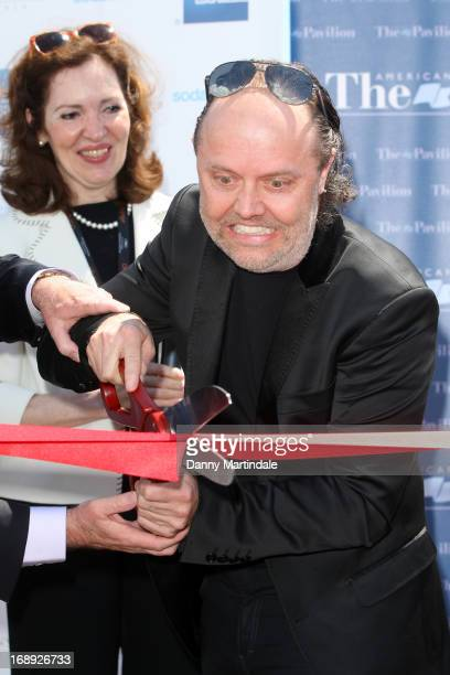 Lars Ulrich of Metallica cuts the ribbon to open the American Pavilion during the 66th Annual Cannes Film Festival at the American Pavilion on May 17...