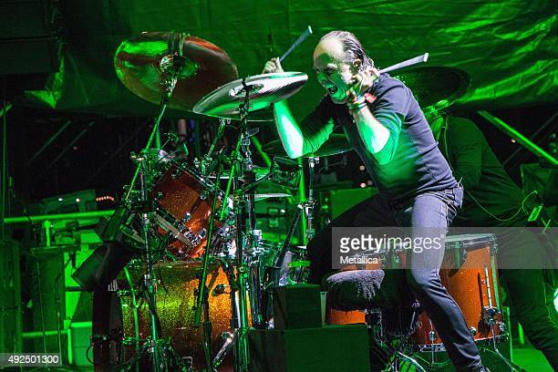 Lars Ulrich of Metallica performing at Rock In Rio USA at MGM Resorts Festival Grounds on May 9 2015 in Las Vegas Nevada