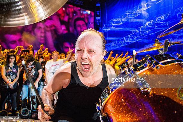 Lars Ulrich of Metallica performing at Sonisphere Italy at Assago Arena on June 2 2015 in Milan Italy