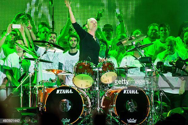 Lars Ulrich of Metallica performing at Ullevi Stadium on August 22 2015 in Gothenburg Sweden