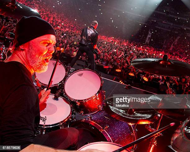 Lars Ulrich of Metallica performs at Coliseo de Puerto Rico on October 26 2016 in Hato Rey Puerto Rico