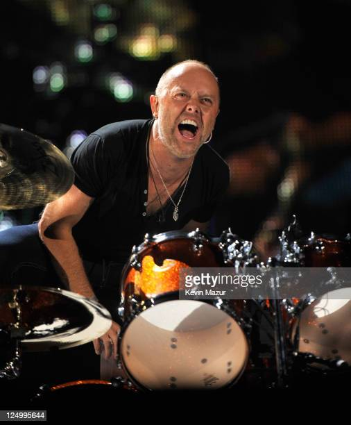Lars Ulrich of Metallica performs at Yankee Stadium on September 14 2011 in New York City