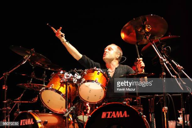Lars Ulrich of Metallica performs during their World Magnetic tour at Madison Square Garden on November 14 2009 in New York City