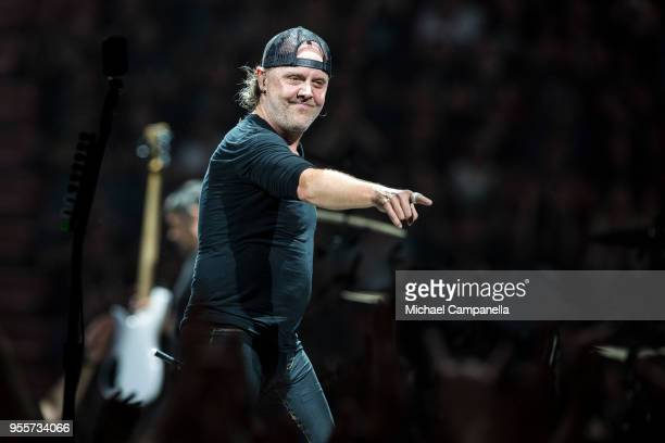 Lars Ulrich of Metallica performs during their WorldWired tour at the Ericsson Globe Arena on May 7 2018 in Stockholm Sweden