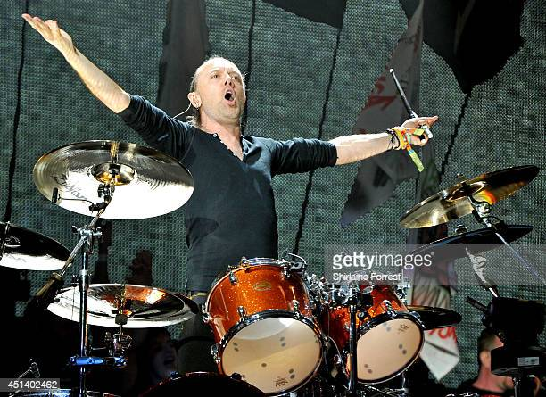 Lars Ulrich of Metallica performs headling The Pyramid Stage on Day 2 of the Glastonbury Festival at Worthy Farm on June 28 2014 in Glastonbury...