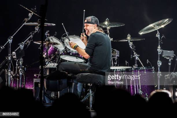 Lars Ulrich of Metallica performs live on stage at The O2 Arena on October 22 2017 in London England