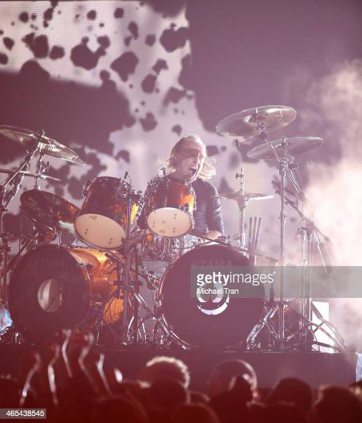 Lars Ulrich performs onstage during the 56th GRAMMY Awards held at Staples Center on January 26 2014 in Los Angeles California