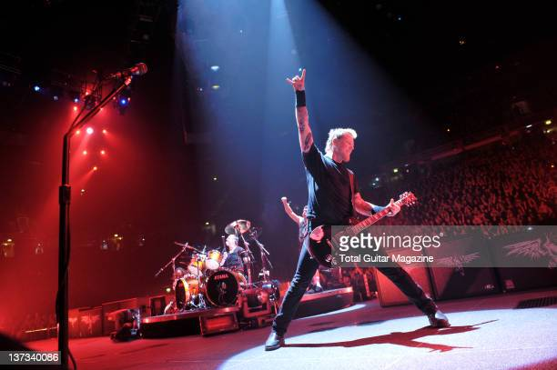Lars Ulrich Robert Trujillo and James Hetfield of American heavy metal group Metallica performing live on stage at the MEN Arena in Manchester on...