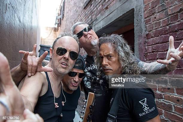 Lars Ulrich Robert Trujillo James Hetfield and Kirk Hammett of Metallica perform on Record Store Day at Rasputin Music on April 16 2016 in Berkeley...