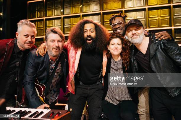 Lars Ulrich with Reggie Watts and the Late Late Show band during The Late Late Show with James Corden Tuesday February 14 2017 On The CBS Television...