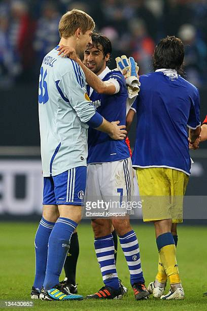 Lars Unnerstall and Raul Gonzalez of Schalke celebrate the 21 victory after the UEFA Europa League group J match between FC Schalke 04 and FC Steau...